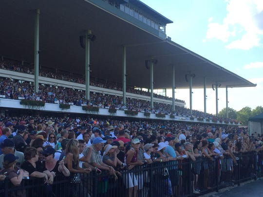 Part of the record crowd that showed up on Haskell Day last summer to see Triple Crown winner American Pharoah run at Monmouth Park.