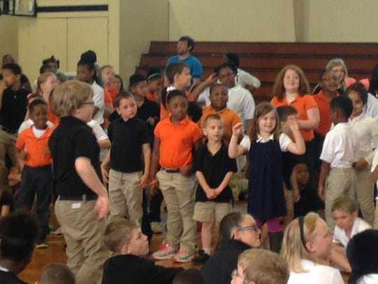 Children at East Elementary did the Chicken Dance on