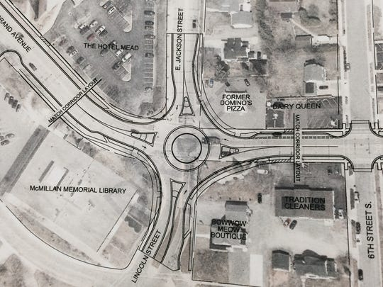 A map of a possible roundabout at Grand Avenue and Lincoln Street in Wisconsin Rapids.