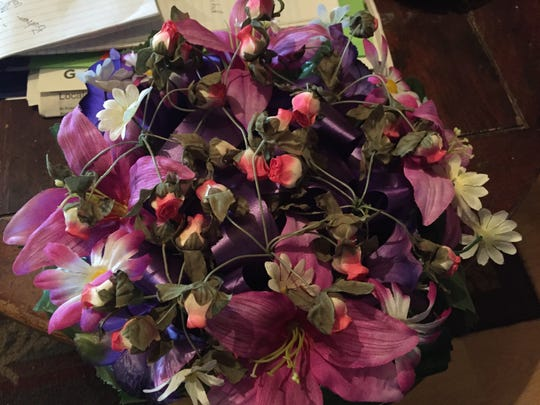 A wreath that Bobby Jo Manley made for Dana Manley