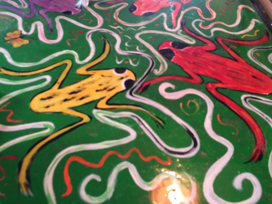 The design of a painted table at Jose's Authentic Mexican Restaurant in Adams.