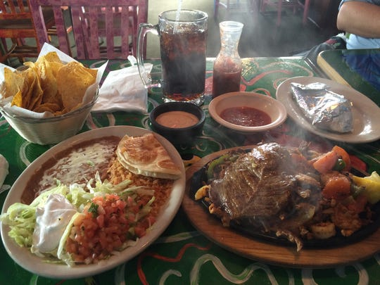An order of the Especial El Vallerta fajitas, along with chips and dip, at Jose's Authentic Mexican Restaurant in Adams.