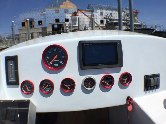 Control panel inside You Gun Learn, one of the boats competing at the Point Pleasant Beach Offshore Grand Prix on May 22.
