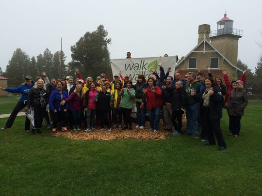The whole group who went on a Walk with Walker at Peninsula State Park in Fish Creek Thursday morning.