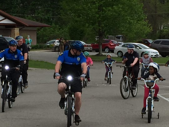 Riders, including Mansfield police, Explorers and young