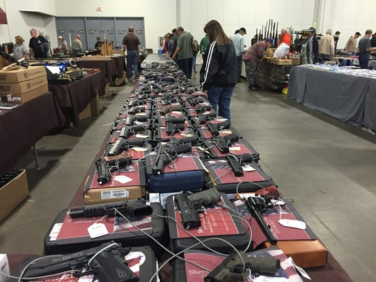 Tables at a recent gun show in Louisville
