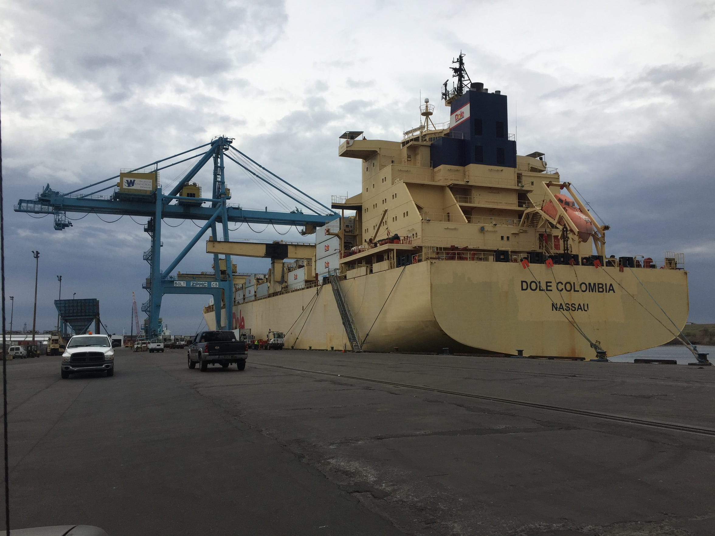 The Dole Columbia offloads at the port of Wilmington in April. Port officials are considering how to grow the facility in the coming decade.