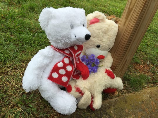 Bears were placed near the spot where 2-year-old Delaney