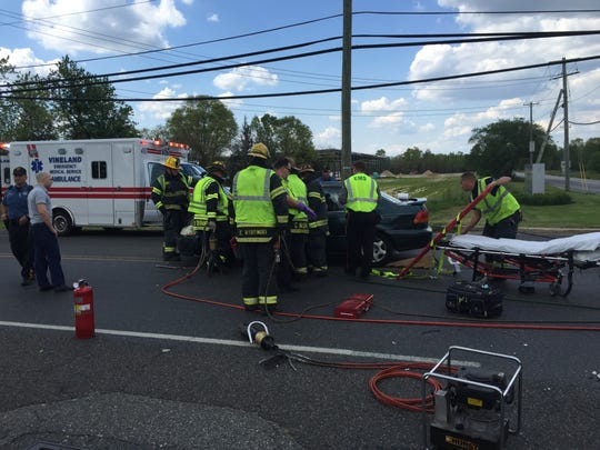 Vineland firefighters free a driver trapped in his