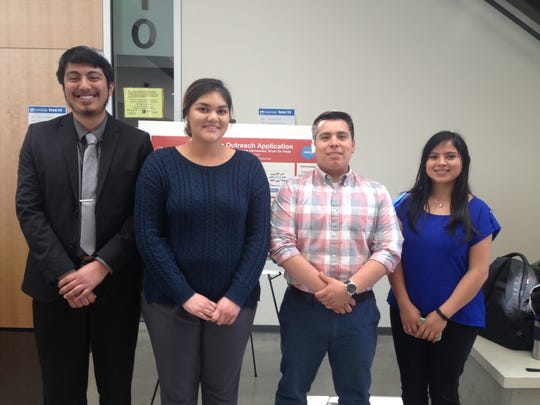 CSin3 graduates displayed their senior projects Friday at CSUMB.From right to left are Monse Hernandez. Brian De Anda, Maritza Abzun; the fourth student's name was unavailable.