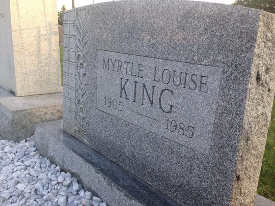The headstone of Myrtle Louise Stonesifer King sits in Mount Caramel Cemetery in Littlestown. The memorial garden surrounding the grave will be revealed May 28.