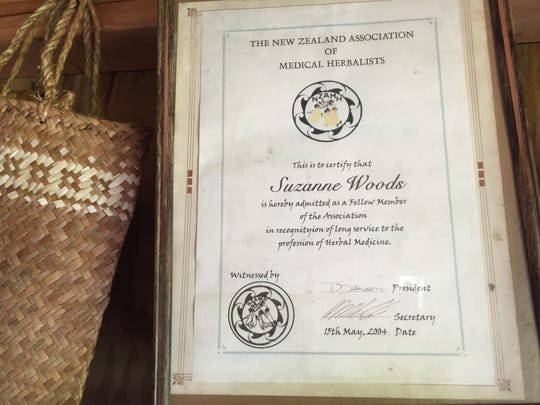 Suzanne Woods' certification. Becoming a member of the New Zealand Association of Medical Herbalists requires years of training and ongoing course work.