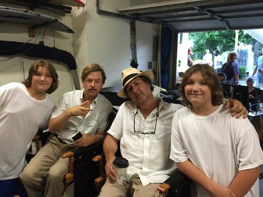 """From left, Zakk Paradise, actor David Spade, director Steven Brill, and Xander Paradise on """"The Do Over"""" set."""