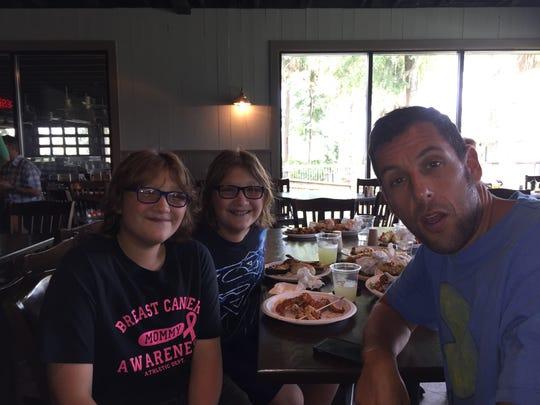 From left, Zakk Paradise, Xander Paradise and actor Adam Sandler.