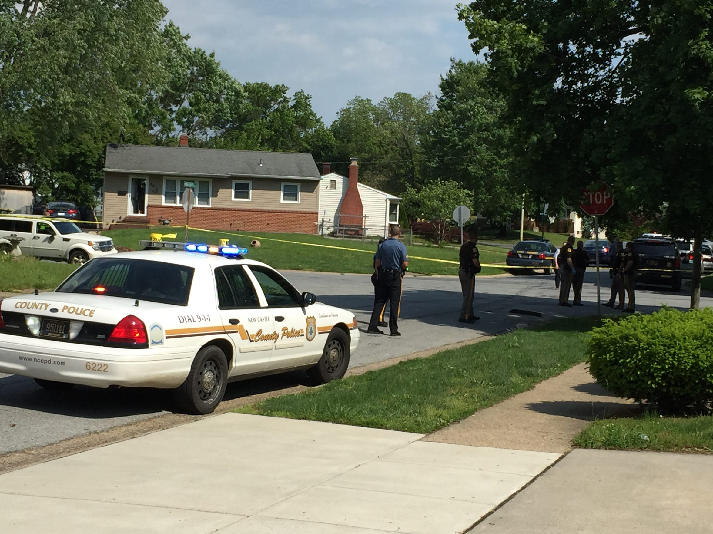 New Castle County police respond to the area of Balbach Avenue and Holden Drive following reports of a shooting.