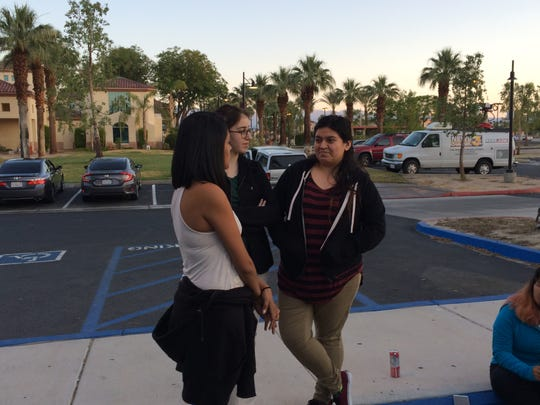 The first people in line were (Left to right) Cathedral City residents Crystal McDowell, 20; Lanie Harper, 21; Ariana Gutierrez, 23.