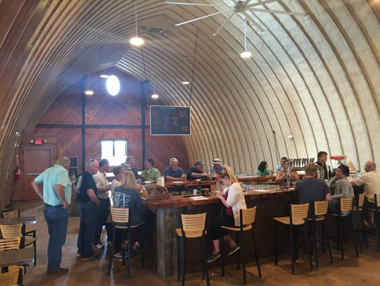 The second-floor tasting bar at Bottomless Brewing