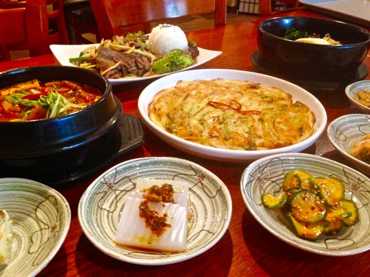 A traditional meal of Korean food.