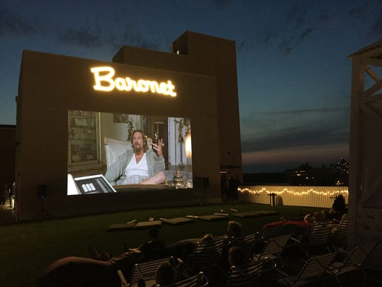 """The Big Lebowski"" on screen at the Baronet space of the Asbury Hotel."