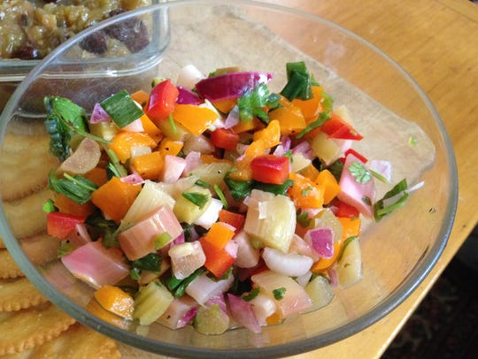 Rhubarb salsa in a honey-lime dressing reveals the