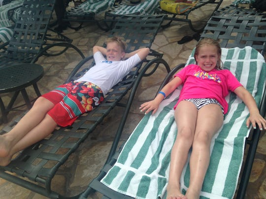 Cousins chillin' by the pool.