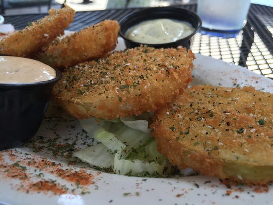 Fried green tomatoes at Sass restaurant in Thomasville, Georgia.