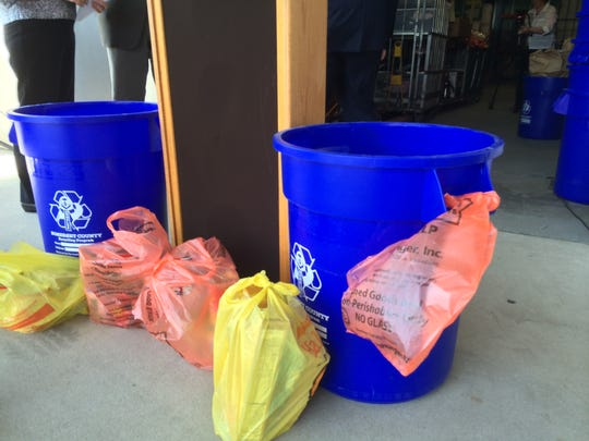 As part of the annual Curbing Hunger collection effort in Somerset County, orange bags were tied to all residents' recycling buckets last month. This month, residents are asked to put nonperishable items in the bags, which will be picked up by county workers who also collect recycling items at curbsides.
