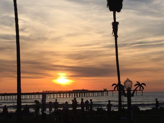 Sunset in Ocean Beach, California.