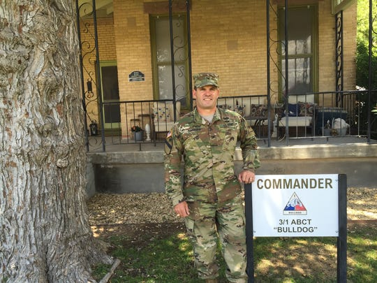 Col. Chip Daniels stands in front of the Patton House at Fort Bliss, where he has lived the past two years. Patton lived there 100 years ago when he was a young officer and was the commandant of the Horseshoeing School at Fort Bliss.