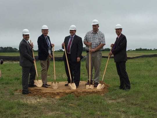 Officials broke ground on a new mission launch command center at NASA Wallops Flight Facility on Friday, June 3, 2016. From left, Steve Kremer, NASA WFF Chief of Range; Bruce Underwood, NASA WFF Deputy Director; Rick Marrs, Deputy Assistant Administrator, NASA Office of Strategic Infrastructure; Chris Manning, Harkins Contracting, Inc.; and William Wrobel, Director, NASA WFF.