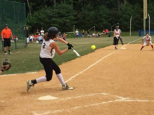 Missy Sadler hits during Saturday's Class B southeast regional softball championship game versus Center Moriches at Rhinebeck High School.