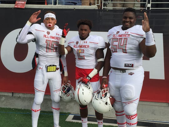 Florida State freshman Malik Henry, Levonta Taylor and Baveon Johnson pose for a photo after their team won the Under Armour All-America Game 27-0 at the Citrus Bowl Stadium in Orlando in January.