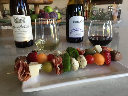 Wine and Chocolate Loft presents charcuterie on a skewer.