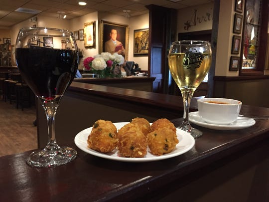 Italian cheese balls with red sauce at Little Venice
