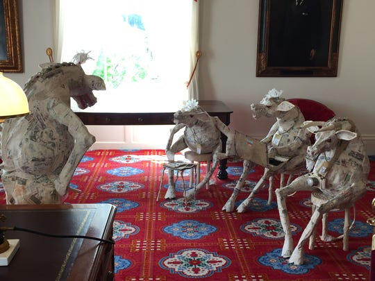 "A satirical art installation titled ""Judgment Day,"" made by Gov. Peter Shumlin's wife Katie Hunt, was installed in the governor's ceremonial office in Montpelier on Monday, June 6."