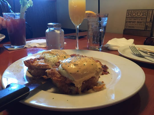 Eggs Benedict with Hollandaise sauce at- he-Brick-Tavern and Tap House in South Plainfield