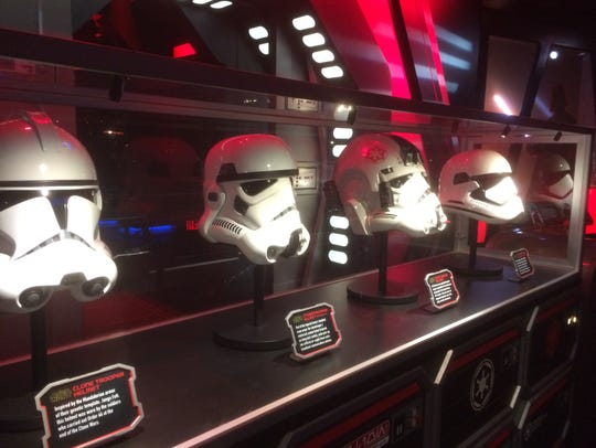 The many helmets of the Stormtrooper are on display