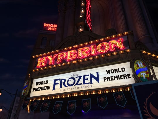 The Hyperion Theater marquee welcomes visitors to the