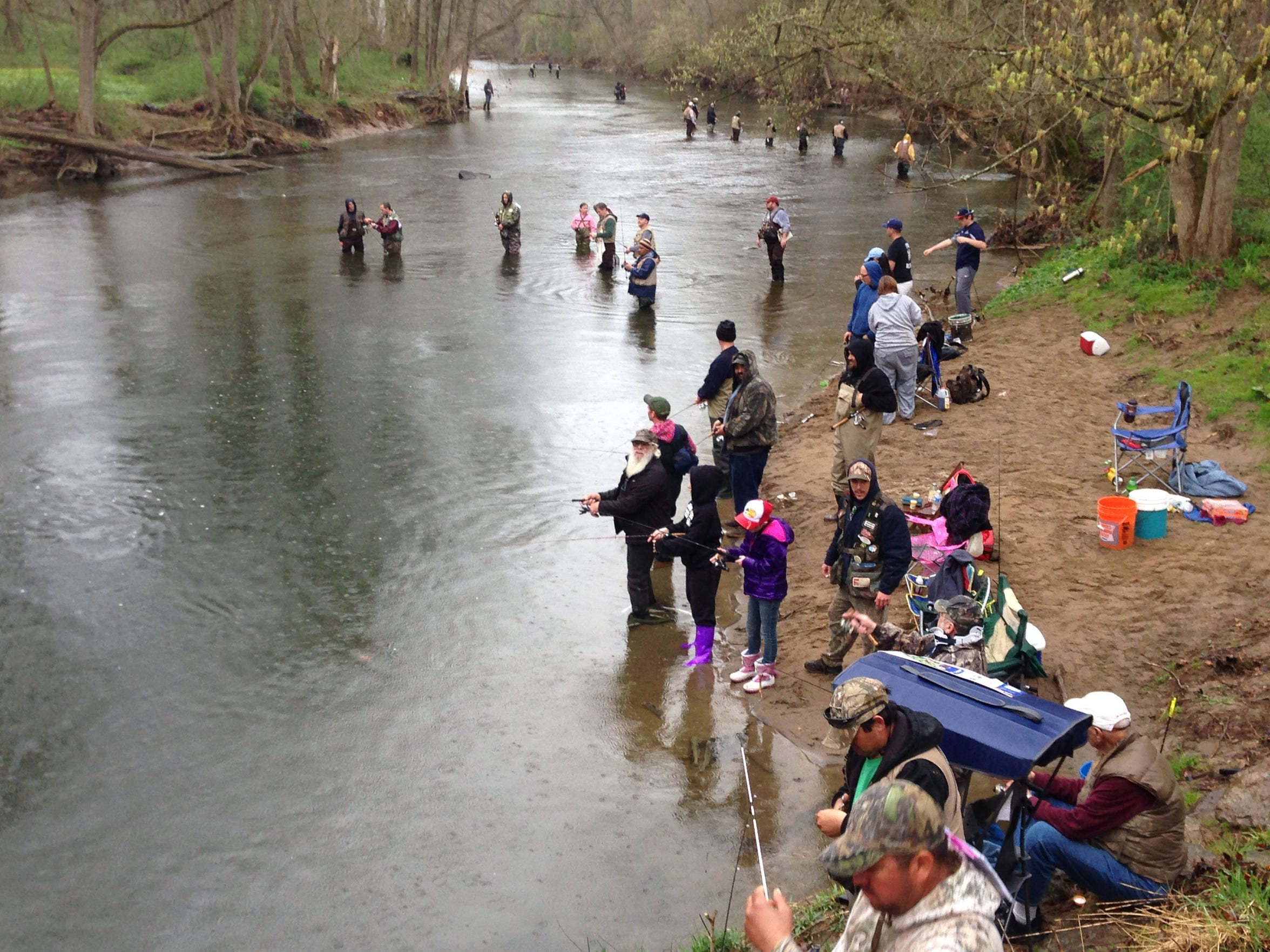 Anglers at White Clay Creek in Newark set their sites on reeling in trout on the opening day of trout season in New Castle County.