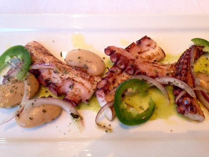 Charred Octopus with gigante beans, Greek oregano and