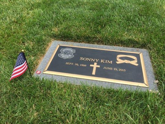 The grave of Cincinnati police officer Sonny Kim on