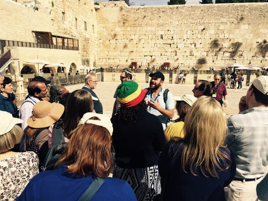 Clergy at the Western Wall in Jerusalem. On their first Friday night in Israel, mission members gathered at Robinson's Arch at the Western Wall for an egalitarian prayer service led by Rabbi Marc Kline of Monmouth Reform Temple in Tinton Falls.