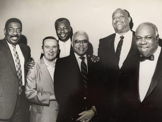 "Oscar Robertson, third from left, said of Willie Gardner, second from right: ""He was a great talent. I didn't see him play much because he was older. Of course I heard the legend."" In the photo, from left: Herschel Turner (former Shortridge basketball star), Bob Collins, Oscar Robertson, Ray Crowe, Willie Gardner and Bailey Robertson."