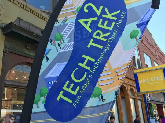 Banners like this advertised all the locations open to visitors during the June 17, 2016 Ann Arbor Tech Trek