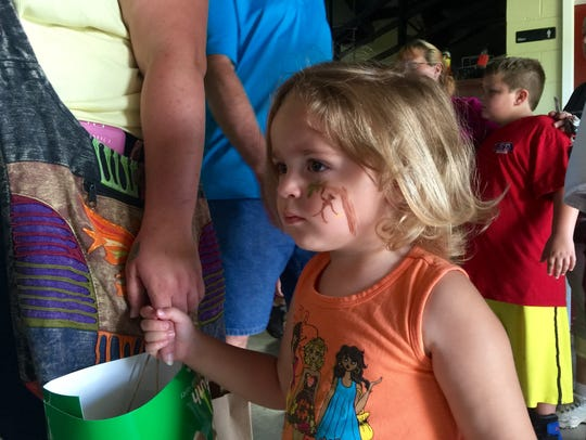 Briley Gross, 2, spent the day with her mother, Ashley