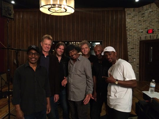 "Scott Billington, second from left, stands with blues legend Bobby Rush, center, at a recent recording session that also included, from left, Vasti Jackson, Shane Theriot, David Torkanowsky, Jeffrey ""Jellybean"" Alexander and Cornell Williams."