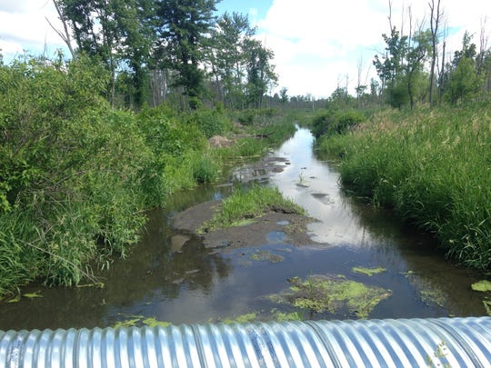"""Deep water is visible on either side of Five Point Highway near what residents call """"the creepy swamp."""""""