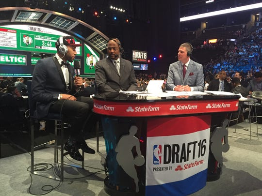 Denzel Valentine is interview at the 2016 NBA draft after being selected by the Chicago Bulls.