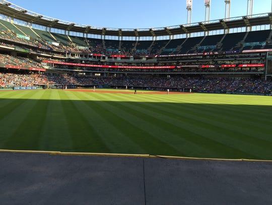 The bullpen seats in center field at Progressive Stadium