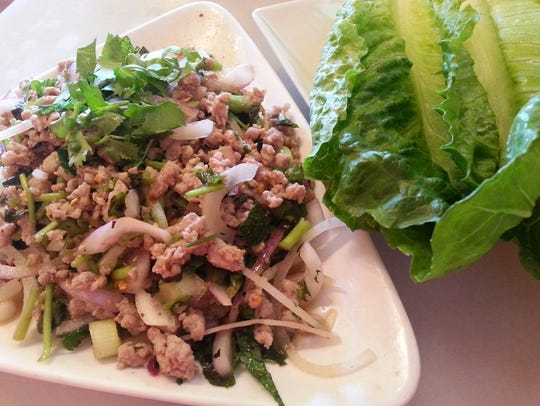 Minced pork lettuce wraps at The Smiling Elephant.
